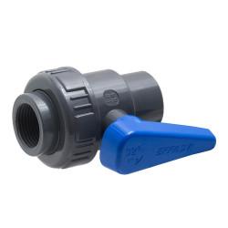 PVC-Kugelhahn mit Überwurfverschraubung
