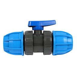 PVC-Kugelhahn mit PE-Verschraubung beidseitig