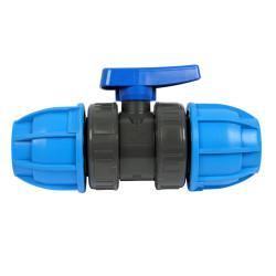 PVC-Kugelhahn mit PE-Verschraubung